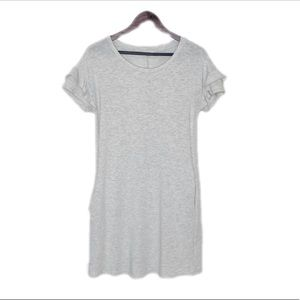 Short Ruffle Sleeve T-shirt Dress Gray Pockets S